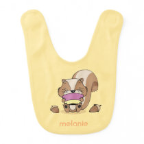 Cute baby animal squirrel hazelnuts yellow bib