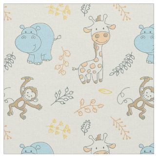 Cute Baby Animals for a Cute Baby Boy Fabric