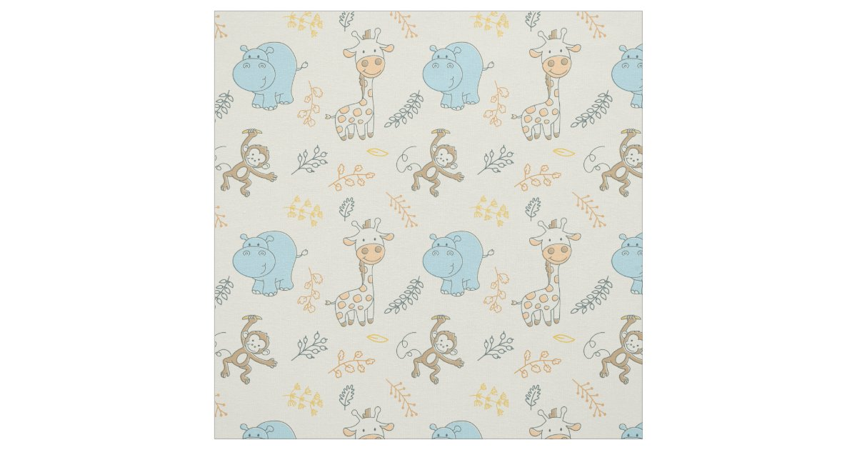 Cute baby animals for a cute baby boy fabric zazzle for Cute baby fabric