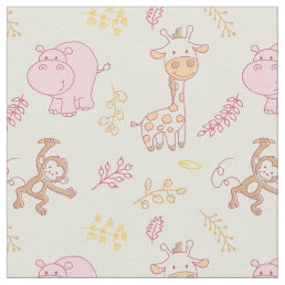 Cute Baby Animals for a Cute Baby Girl Fabric