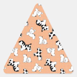 Cute Baby Animals in Peach Triangle Sticker