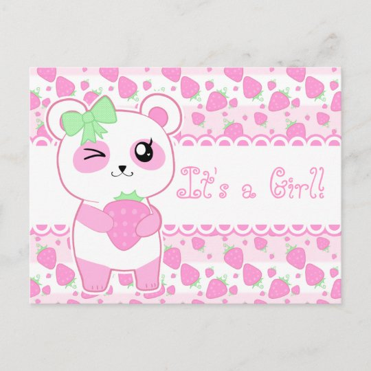 Cute Baby Annoucement Pink Kawaii Panda Bear Announcement Postcard