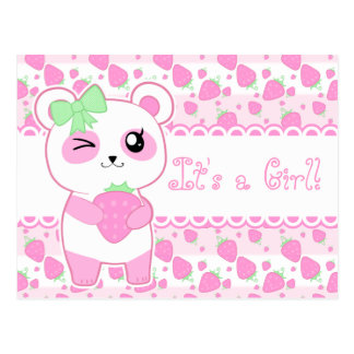 Cute baby annoucement pink Kawaii Panda bear Postcard