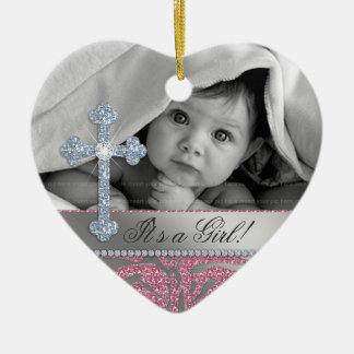 Cute Baby Baptism Birth Announcement Gift Zebra Ceramic Ornament