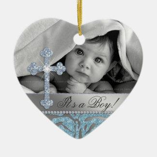 Cute Baby Baptism Cross Birth Announcement Zebra Ceramic Ornament