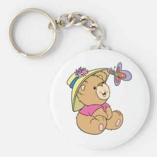 Cute Baby Bear Admiring Butterfly Keychain