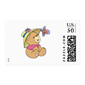 Cute Baby Bear Admiring Butterfly Postage