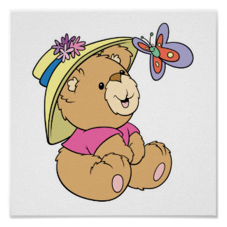 Cute Baby Bear Admiring Butterfly Poster