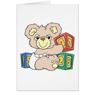 Cute Baby Bear and Blocks Greeting Card