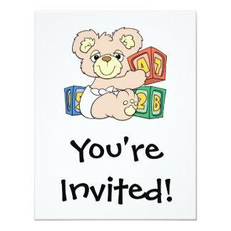 Cute Baby Bear and Blocks 4.25x5.5 Paper Invitation Card