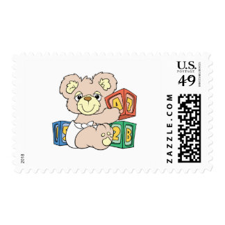 Cute Baby Bear and Blocks Postage