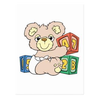 Cute Baby Bear and Blocks Postcard