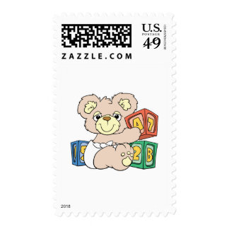 Cute Baby Bear and Blocks Stamps