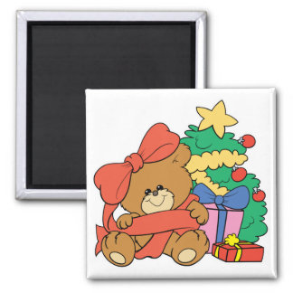 Cute Baby Bear and Christmas Tree 2 Inch Square Magnet