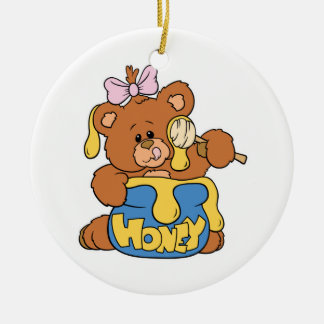 Cute Baby Bear and Honey Double-Sided Ceramic Round Christmas Ornament