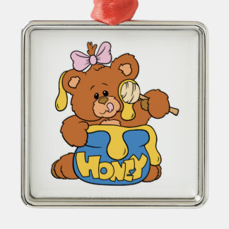 Cute Baby Bear and Honey Square Metal Christmas Ornament