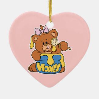 Cute Baby Bear and Honey Double-Sided Heart Ceramic Christmas Ornament