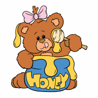 Cute Baby Bear and Honey Statuette