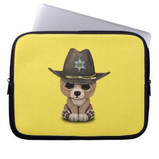 Cute Baby Bear Cub Sheriff Computer Sleeve