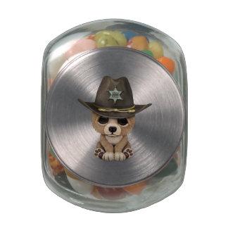 Cute Baby Bear Cub Sheriff Glass Candy Jar