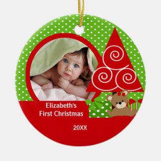 Cute Baby Bear Girl Photo First Christmas Ornament