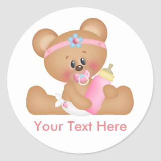 Cute Baby Bear Girl with Custom Text Classic Round Sticker