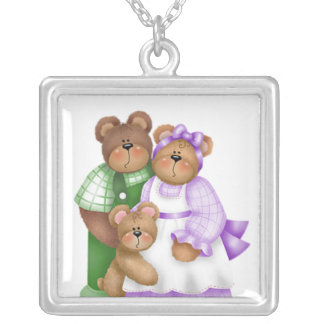 Cute Baby Bear Necklace Square Pendant Necklace