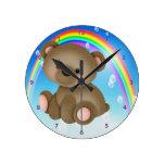 Cute Baby Bear & Rainbow Clock