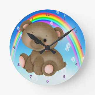 Cute Baby Bear & Rainbow Clock