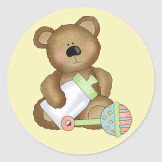 Cute Baby Bear with Baby Bottle and Rattle Classic Round Sticker