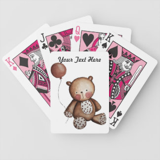 Cute Baby Bear with Balloon Poker Cards