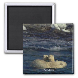 Cute Baby Bears & Mother 2 Inch Square Magnet