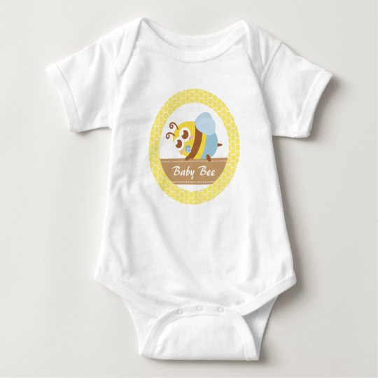 Cute baby Bee and Honeycomb pattern border Baby Bodysuit