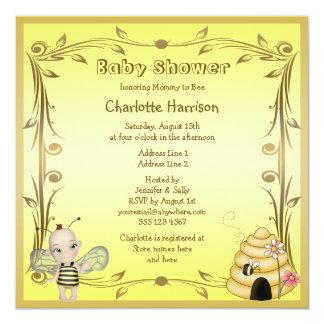 Cute Baby Bee & Beehive Baby Shower Invites