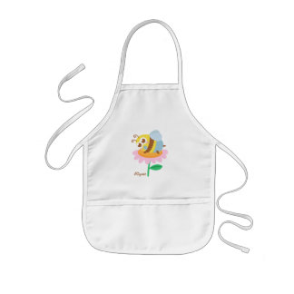 Cute baby bee resting on a pink flower kids' apron