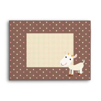 Cute Baby Billy Goat Envelope with Polka Dots