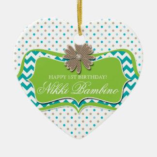 Cute Baby Birth Announcement First Birthday Dots Ceramic Ornament