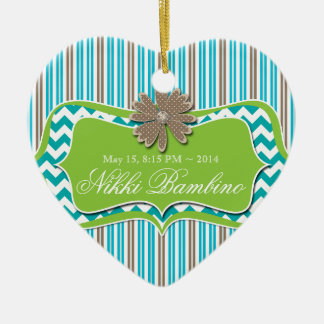 Cute Baby Birth Announcement First Birthday Stripe Ceramic Ornament