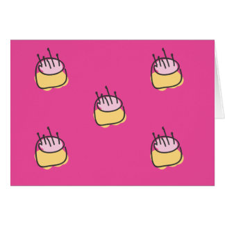 Cute baby Birthday cakes on hot pink background Card