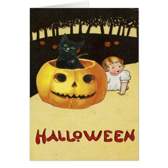 Cute Baby Black Cat Jack O Lantern Pumpkin Card