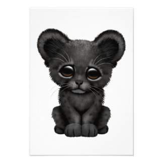 Cute Baby Black Panther Cub Personalized Invitation
