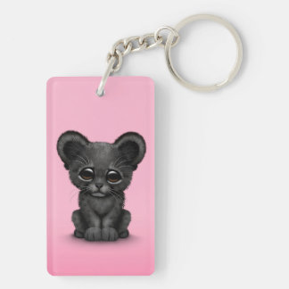 Cute Baby Black Panther Cub on Pink Keychain