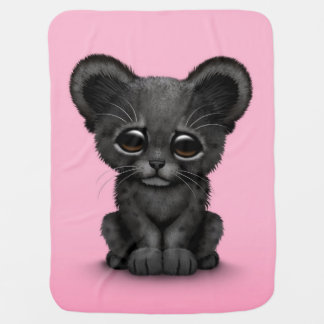 Cute Baby Black Panther Cub on Pink Baby Blankets