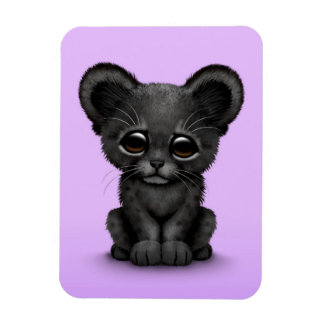 Cute Baby Black Panther Cub on Purple Rectangular Magnet