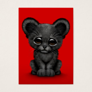 Cute Baby Black Panther Cub on Red Business Card