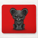 Cute Baby Black Panther Cub on Red Mousepads