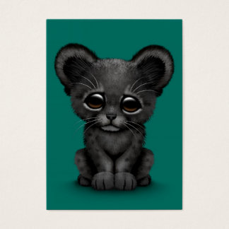 Cute Baby Black Panther Cub on Teal Blue Business Card
