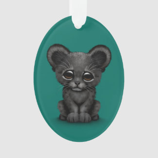 Cute Baby Black Panther Cub on Teal Blue Ornament