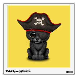 Cute Baby Black Panther Cub Pirate Wall Sticker
