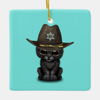 Cute Baby Black Panther Cub Sheriff Ceramic Ornament